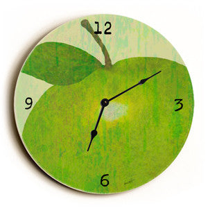 Green Apple Unique Wall Clock by Artist Lisa Weedn