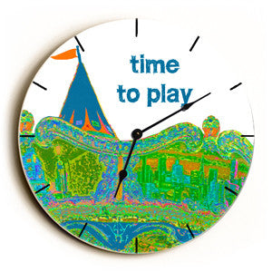 Time To Play Unique Wall Clock by Artist Lisa Weedn