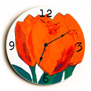 Rose Buds Unique Wall Clock by Artist Lisa Weedn