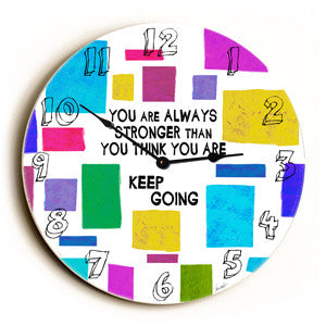 Keep Going Unique Wall Clock by Artist Lisa Weedn