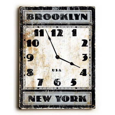 Brooklyn New York Unique Wall Clock by Artist Peter Horjus