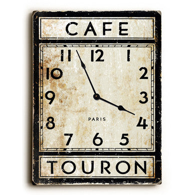 Cafe Touron Paris Unique Wall Clock by Artist Peter Horjus