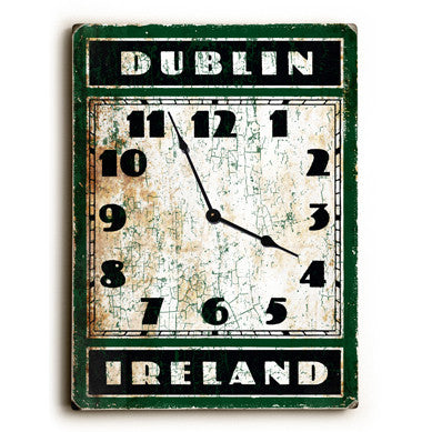 Dublin Ireland Unique Wall Clock by Artist Peter Horjus