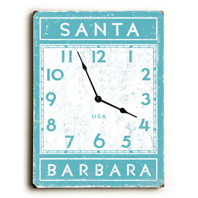 Santa Barbara California Unique Wall Clock by Artist Peter Horjus