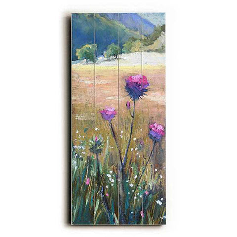 Thistle In The Valley by Artist Carol Schiff Wood Sign