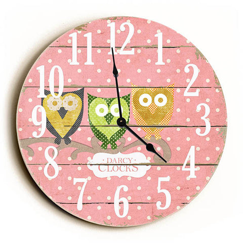 Pink Polka Dot Three Owls Unique Wall Clock by Dickery Dock