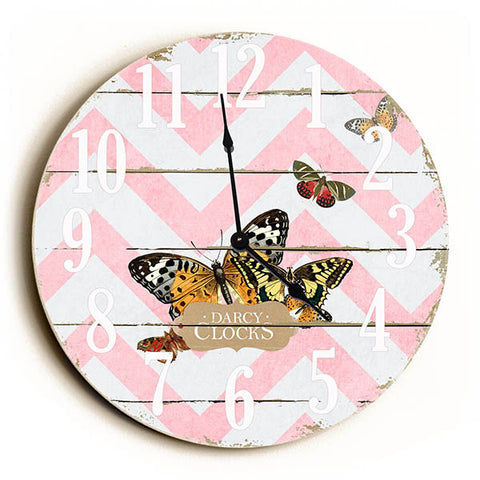Chevron Stripe Butterfly Unique Wall Clock by Dickery Dock
