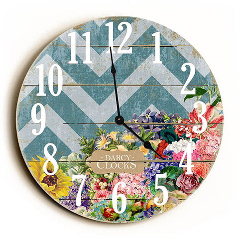 Chevron Stripe Vintage Flowers Unique Wall Clock by Dickery Dock