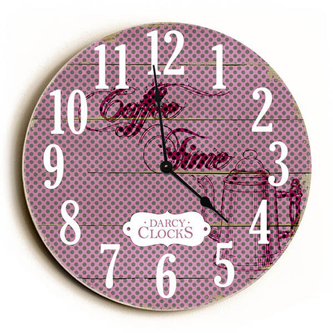 Purple Polka Dots Coffee Time Unique Wall Clock by Dickery Dock