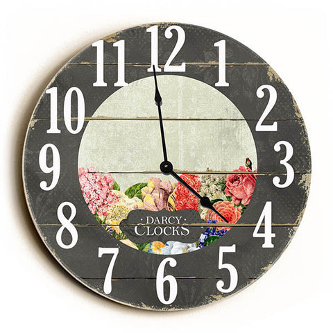 Vintage Flower Unique Wall Clock by Dickery Dock