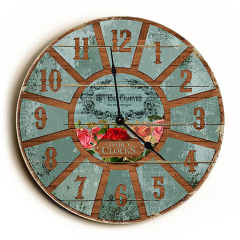 Aqua French Style Unique Wall Clock by Dickery Dock