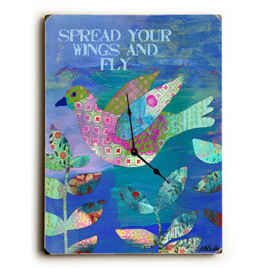 Spread Your Wings And Fly Unique Wall Clock by Artist Beth Nadler