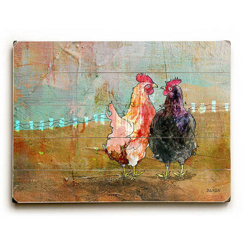 Hens Of A Feather by Artist John Baran Wood Sign