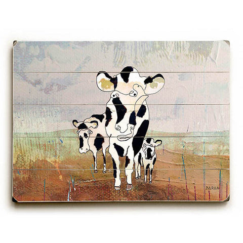Picascows by Artist John Baran Wood Sign