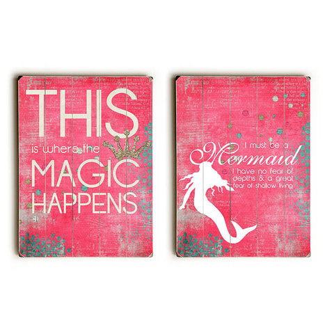 Magic Happens Mermaid Diptych by Artist Cheryl Overton Wood Sign