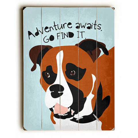 Boxer Adventure by Artist Ginger Oliphant Wood Sign