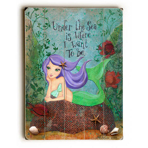 Under The Sea by Artist Heather Rushton Wood Sign
