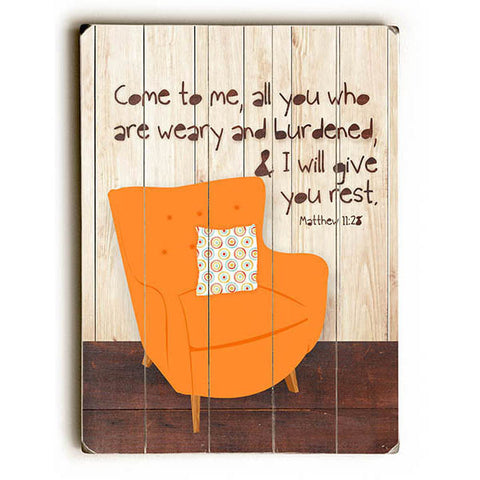 I Will Give You Rest by Artist Ginger Oliphant Wood Sign