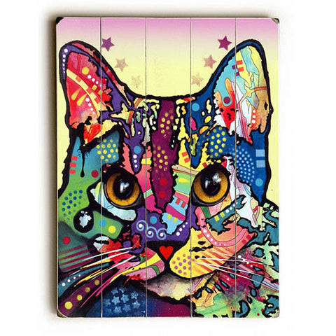 Maya Cat by Artist Dean Russo Wood Sign