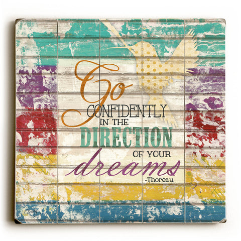"""Go Confidently"" Thoreau Quote by Artist Misty Diller Wood Sign"