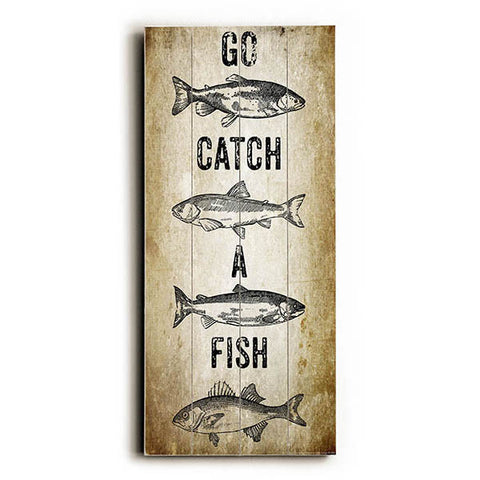 Go Catch A Fish by Artist Brandi Fitzgerald Wood Sign