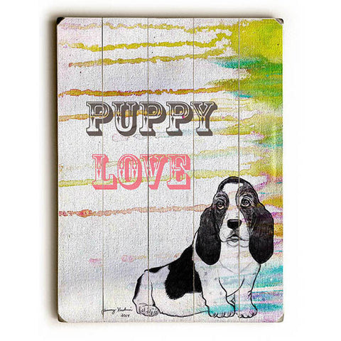 Puppy Love by Artist Tammy Kushnir Wood Sign