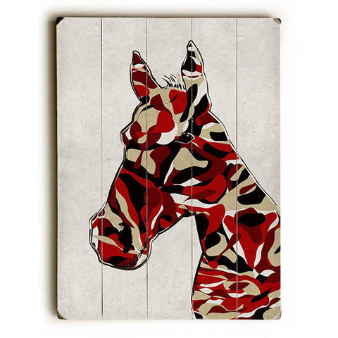 Camoflouge Horse by Artist Angelo Cerantola Wood Sign