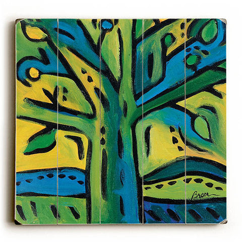 Green Tree by Artist Catherine Breer Wood Sign