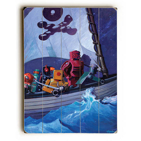 Robo Pirates by Artist Eric Joyner Wood Sign