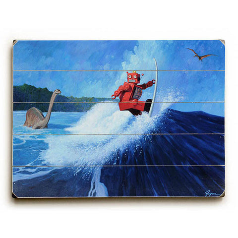 Robo Surfer Joe by Artist Eric Joyner Wood Sign