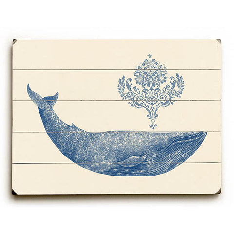 Damask Whale by Artist Terry Fan Wood Sign