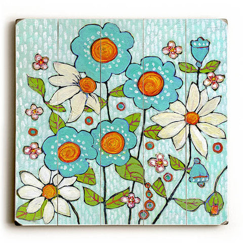 Daisy Blue Flowers by Artist Blenda Tyvoll Wood Sign