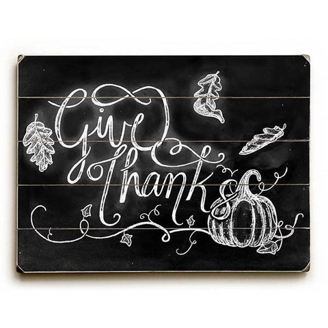 Give Thanks by Artist Robin Frost Wood Sign