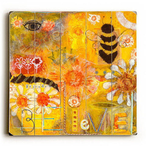 Bee Collage by KG Art Studio Wood Sign