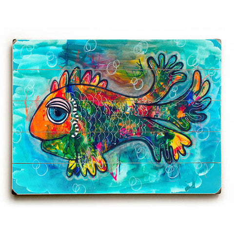 Raining Color Fish by KG Art Studio Wood Sign