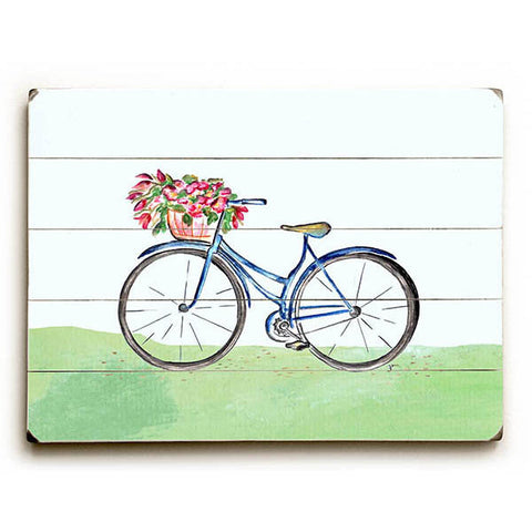 Spring Bicycle by Artist Jennifer Rizzo Wood Sign