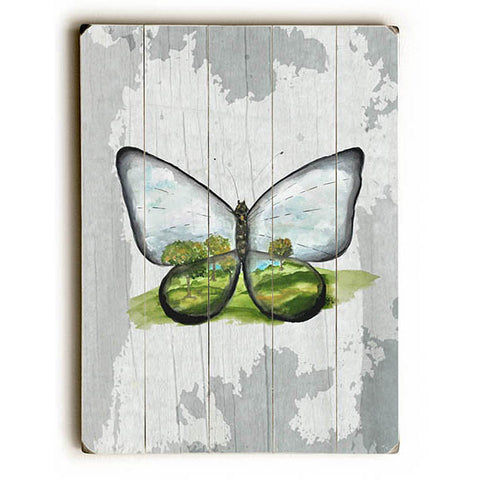 World On A Wing Butterfly by Artist Jennifer Rizzo Wood Sign