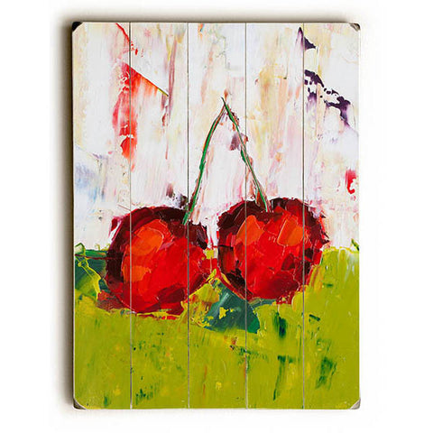 Dueling Cherries by Artist Eric Buchmann Wood Sign