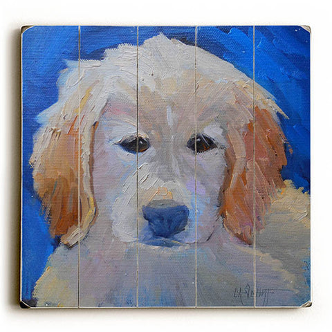 Golden Retriever Pup by Artist Carol Schiff Wood Sign