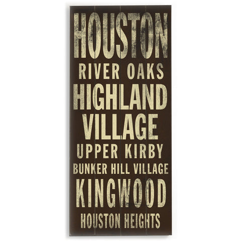 Houston by Artist Cory Steffen Wood Sign