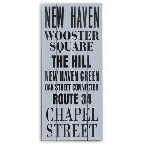 New Haven by Artist Cory Steffen Wood Sign