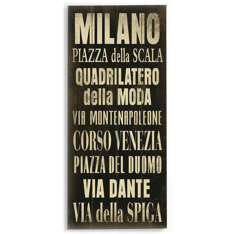 Milano by Artist Cory Steffen Wood Sign