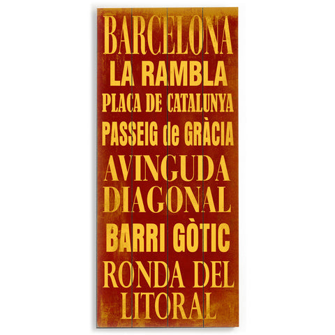 Barcelona by Artist Cory Steffen Wood Sign