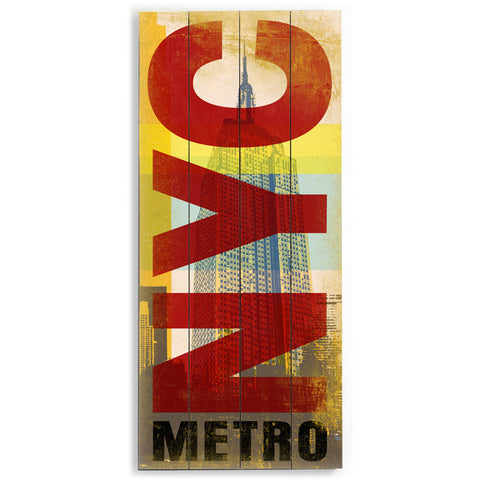 New York City Metro by Artist Cory Steffen Wood Sign