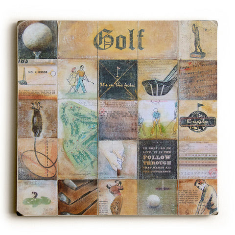 Golf Collage by Artist Peter Horjus Wood Sign