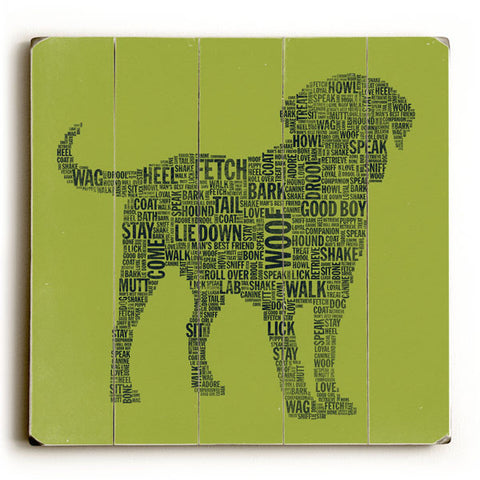 Dog Typography Dark by Artist Stella Bradley Wood Sign