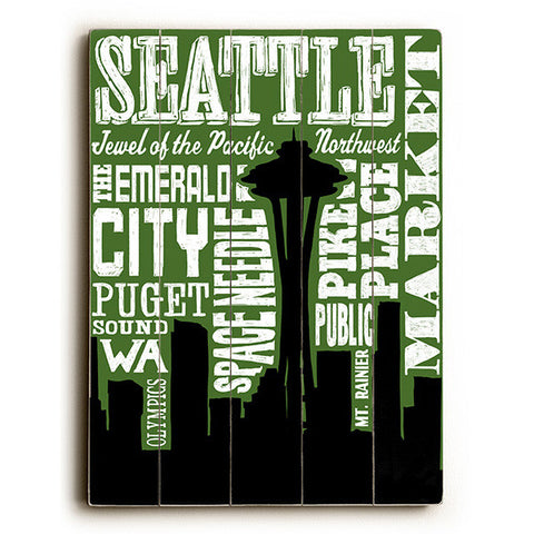 Seattle Silhouette by Artist Cory Steffen Wood Sign