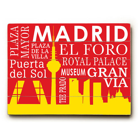 Madrid Silhouette by Artist Cory Steffen Wood Sign