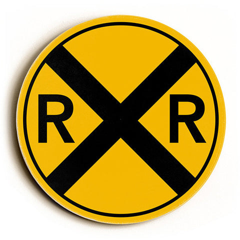 Railroad Crossing by Artist Cory Steffen Wood Sign