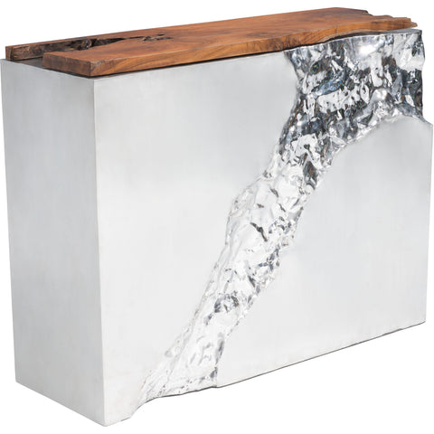 Luxe Console Table, Natural & Stainless Steel